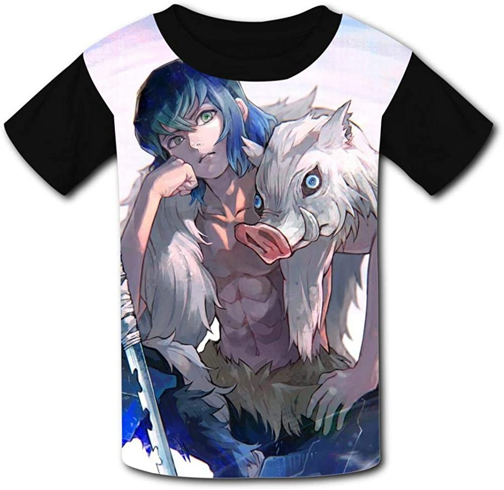 Kimetsu-No-Yaiba Kids Tee Short Sleeve Round Neck Boys Girls 100/% Polyester T-Shirt