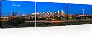 3 Pieces Wall Art Panorama Dusk Downtown Denver Pictures Prints On Painting Canvas Wall Decor for Bedroom, living Room, Bathroom and Office Stretched and Framed Ready to Hang 12x16 inch x 3