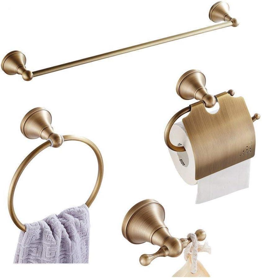 Antique Brass Carved Bathroom Accessories Set Bath Hardware Towel Bar yset007