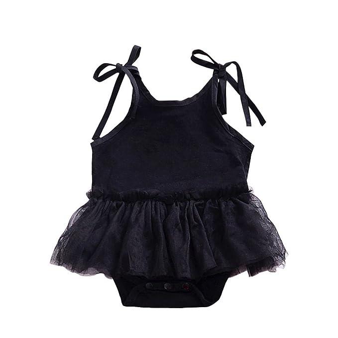ESHOO Pelele - Sin Mangas - Para Bebé Niña Negro 18-24 Meses: Amazon.es: Ropa y accesorios
