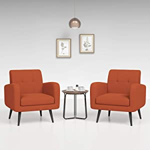 JustRoomy Mid Century Accent Chair Modern Tufted Fabric Arm Chair with Removable Seat Cushion Solid Wood Leg Deep Seating Comfortable Bedroom Living Room Upholstered Reading Chair, Set of 2, Orange