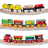 Orbrium Toys 12 Pcs Wooden Engines & Train Cars Collection Compatible with Thomas Wooden Railway, Brio, Chuggington