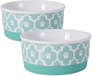 Bone Dry DII Lattice Square Ceramic Pet Bowl for Food & Water