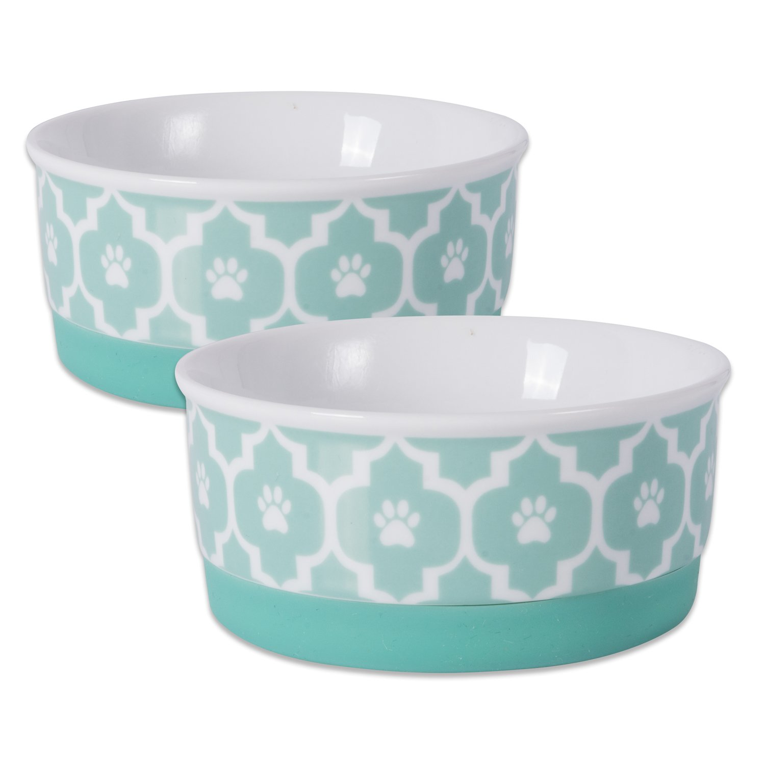 DII Bone Dry Lattice Ceramic Pet Bowl for Food & Water with Non-Skid Silicone Rim for Dogs and Cats (Small 4.25  Dia x 2 H) Aqua Set of 2