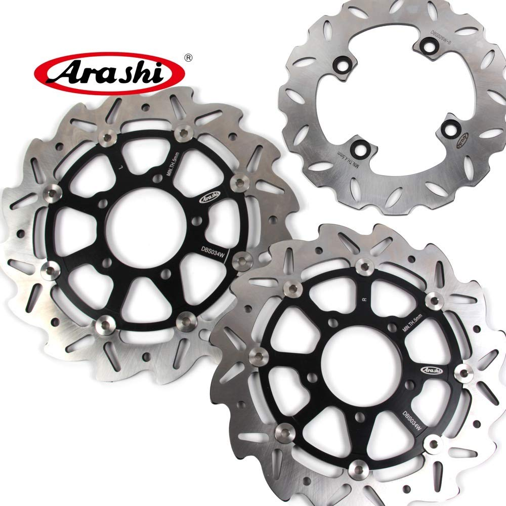 Arashi Front Rear Brake Disc Rotors for KAWASAKI Ninja ZX10R 2004-2007 Motorcycle Replacement Accessories ZX-10R ZX 10R 2005 2006 Black ZX6R ZX-6R