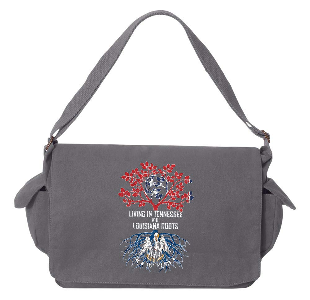 Tenacitee Living In Tennessee with Louisiana Roots Grey Brushed Canvas Messenger Bag