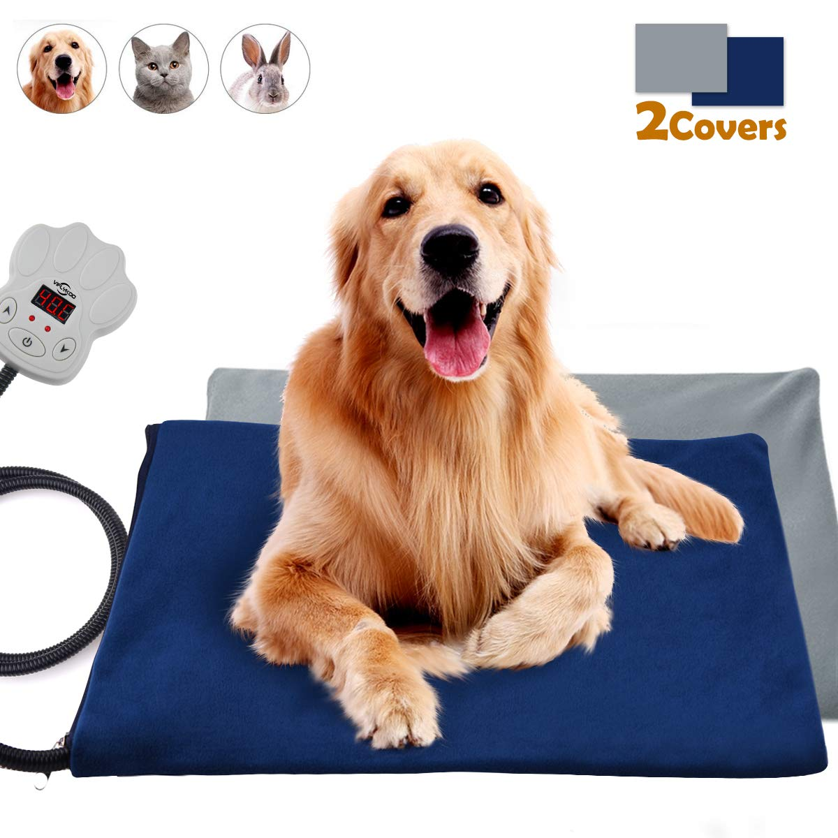 popsky Pet Heating Pads for Dogs & Cats Electric Warming Pet Mat with Chew Resistant Cord & Soft Removable Cover, 7-Level Temperature Setting Adjustable for Pets Animal Bed Warmer Indoor Use, 2 Covers