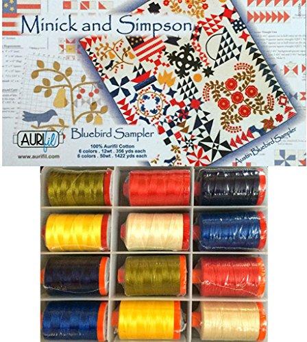 Aurifil Thread Set Bluebird Sampler by Minick & Simpson 6 50wt & 6 12wt Large Spools by Aurifil