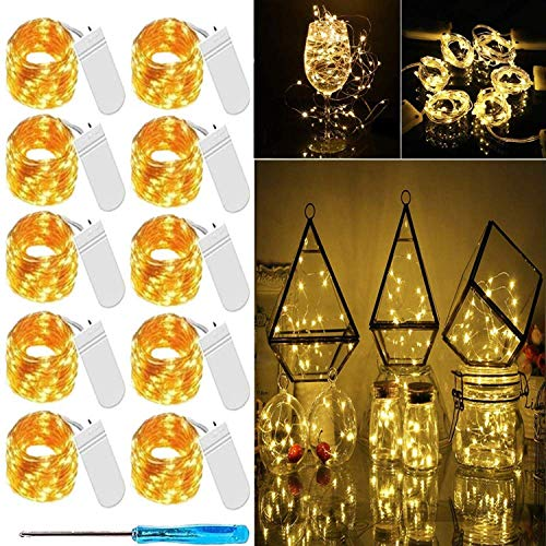 LED Fairy Light String 10 Pack Micro 20 LED Battery Operated Silver Wire String Lights Mini Waterproof Twinkle Star Starry Lights Mason Jar Lights for DIY Party Wedding Bedroom Decor (Warm White)