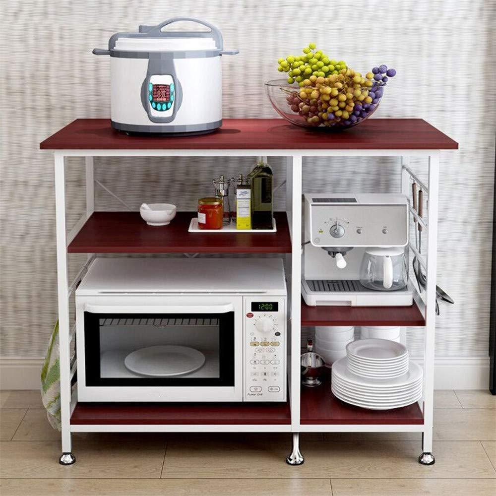 Sdoveb 3-Tier Kitchen Baker's Rack, Microwave Oven Stand Storage Cart Workstation Shelf, Multifunctional Floor Shelf for Appliances Spice Cooker Organizer Workstation Shelf (Brown)