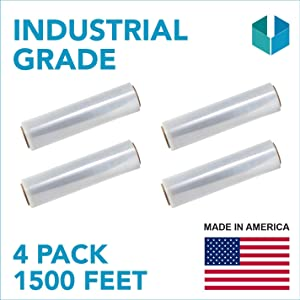 """18""""x 1500 FT Roll- 80 Gauge Thick 33 Lbs per Case,Self-Adhesive Stretch wrap Moving & Packing Wrap. Industrial Strength, Plastic Pallet Shrink wrap Ideal For Furniture, Boxes, Pallets (CLEAR) (4 PACK)"""
