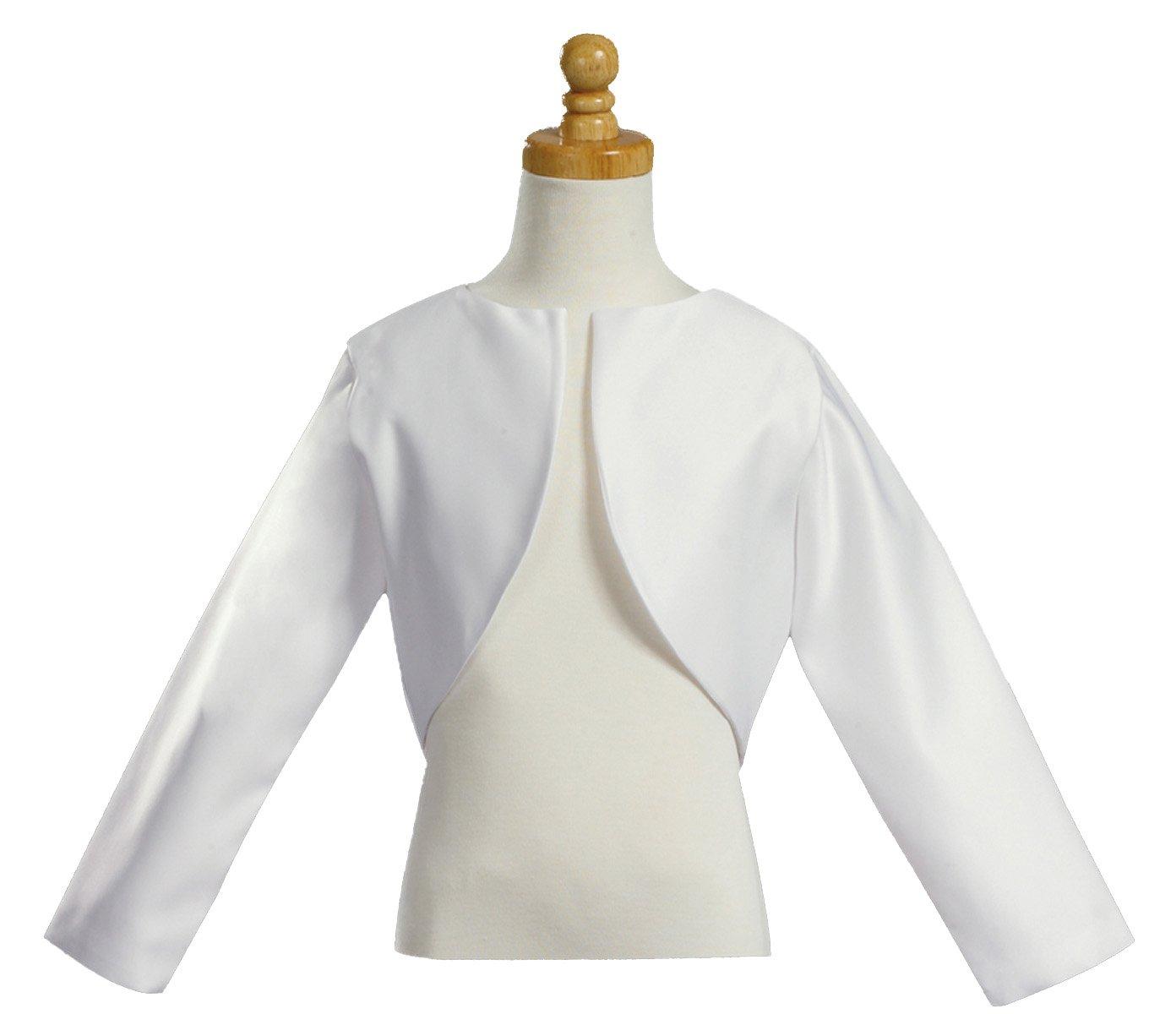 Girl's White Long Sleeve Satin Bolero Jacket - Size 14