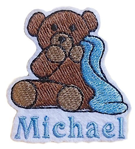 Teddy Bear With Blanket Embroidered Add Your Name Iron-On Or Sew Sticker White Felt Patch by Angie's Embroidery & Handmade Jewelry