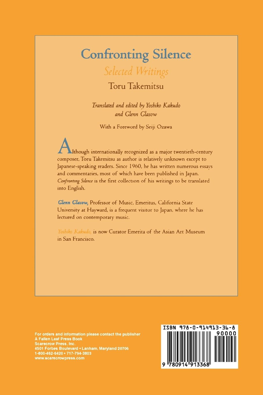Confronting Silence: Selected Writings Fallen Leaf Monographs on ...