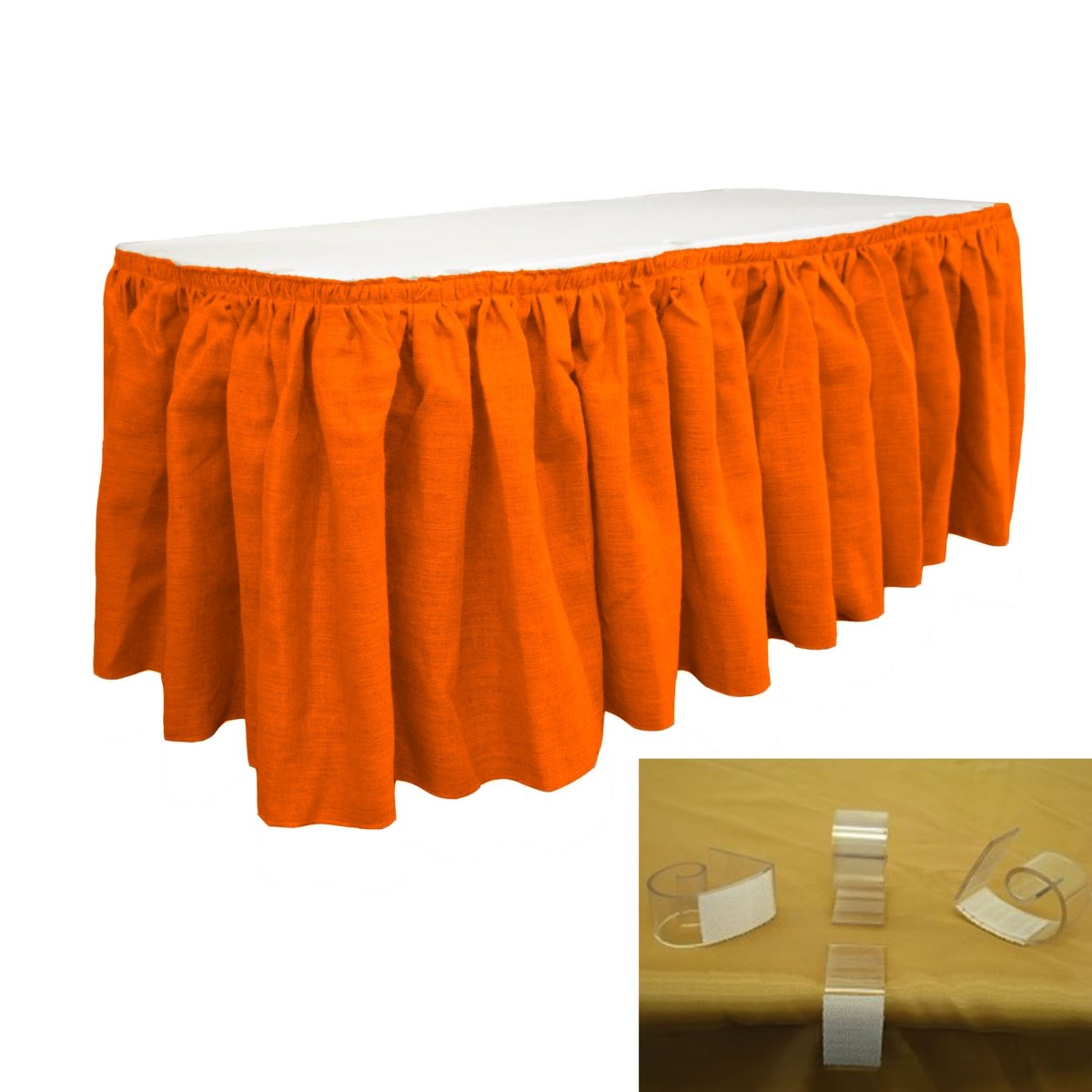 LA Linen SkirtBurlap14x29-10Lclips-Orange Burlap Table Skirt with 10 L-Clips44; Orange - 14 ft. x 29 in.