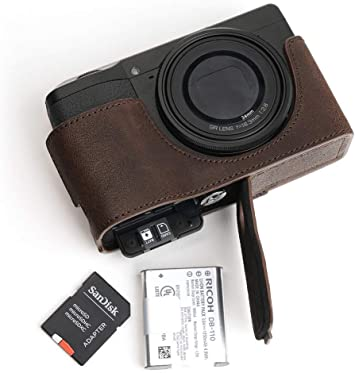 Handmade Genuine Real Leather Half Camera Case Bag Cover for Canon G9X Black Color