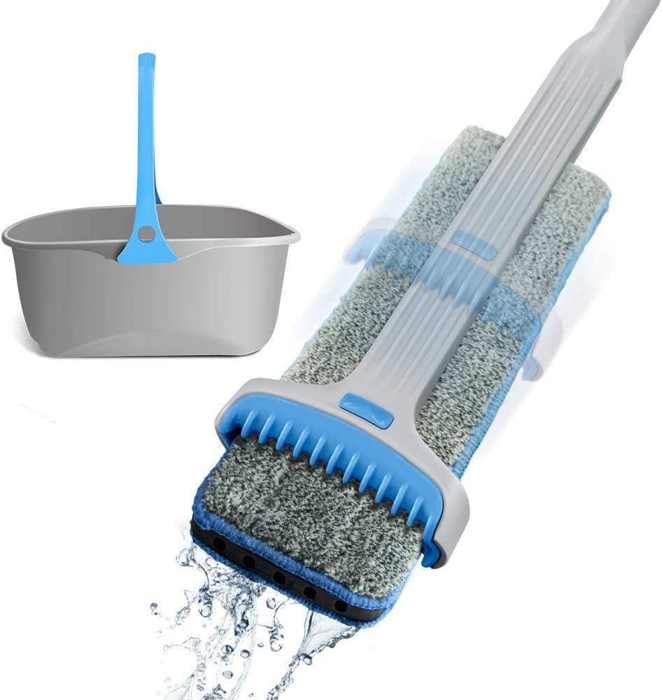 Easy Wring Double Side Mop with 2 Microfiber Mop Heads Self-Drying Squeeze Mop and Bucket Set Stainless Steel for Floor Cleaning Kit
