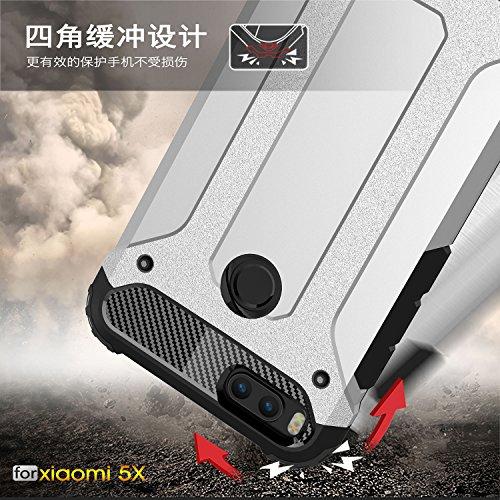 Fundas Xiaomi Mi 5X,XINYUNEW TPU+PC [Regalo Cristal Vidrio Templado] Premium Armadura Híbrido caja de la armadura para el teléfono Silicona Carcasa Case Funda para Xiaomi Mi 5X Armada Plata
