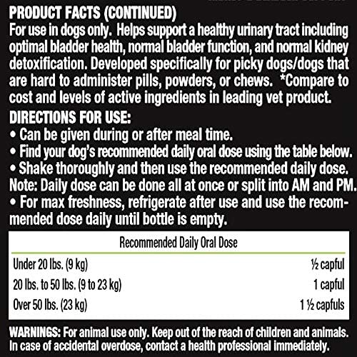 Liquid-Vet Advanced Kidney Bladder Supplements for Dogs with Cranberry D-Mannose Dog Kidney Support Dog Urinary Tract Health