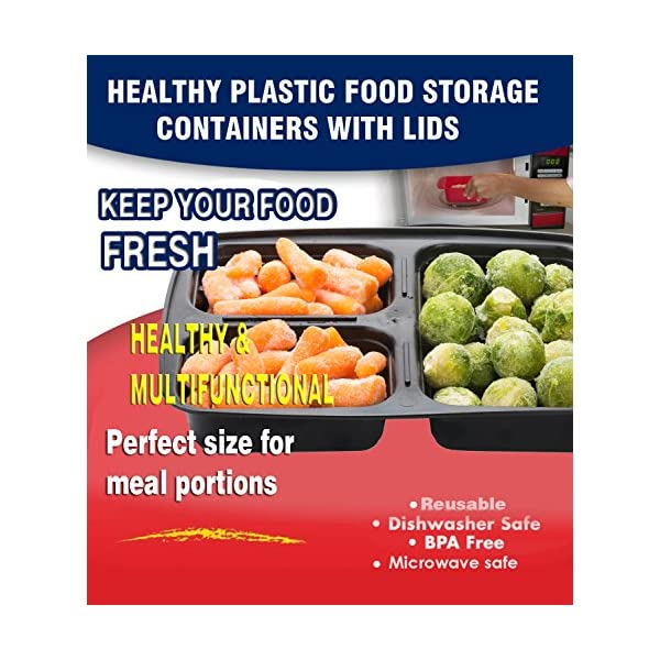 Meal Prep Containers Compartment Food Prep Containers Bento Box BPA-Free Food Storage Containers with Lids-Reusable Meal Prep Containers (Black 20-3) 614QSyVdJDL