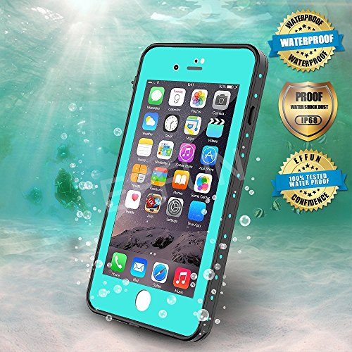Effun iPhone 8 Plus/iPhone 7 Plus Waterproof Case, DOTTIE Style IP68 Certified Underwater Cover Waterproof Shockproof Dustproof Dirtproof Snowproof Full Sealed iPhone Case (5.5 inch) Aqua Blue
