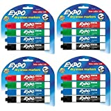 Expo Low Odor Chisel Tip Dry Erase Markers, 4 Colored Markers [80174] (Pack of 4) Total 16 Markers