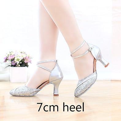 YFF Ballsaal Salsa tango Latin Dance Schuhe Mädchen Frauen, 5 cm Absatz silber, 8,5