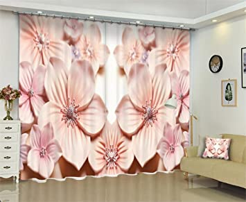Amazon Com Dbtxwd 3d Curtains Polyester Pink Carved Flowers