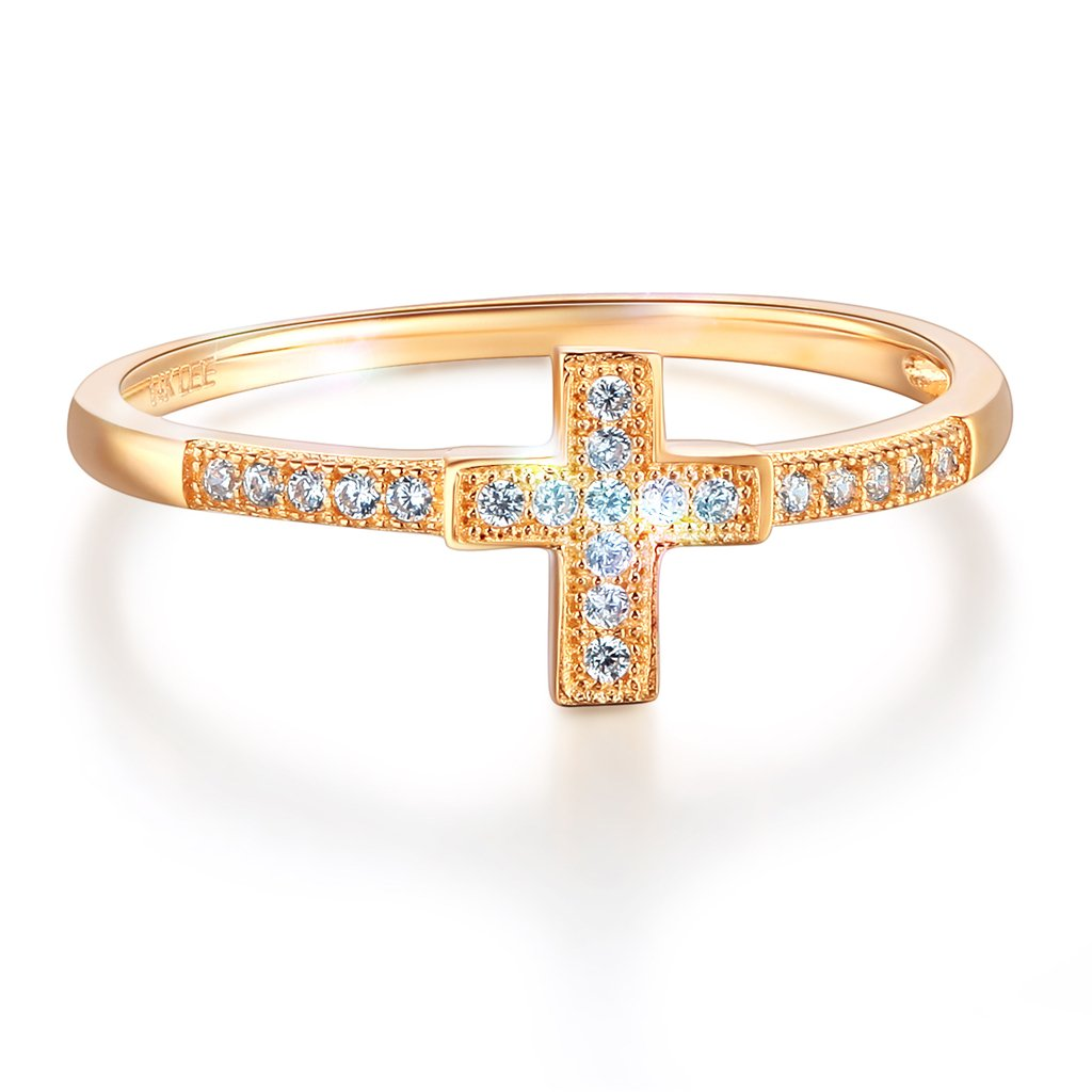 Wellingsale Ladies Solid 14k Yellow Gold Polished CZ Cubic Zirconia Religious Cross Right Hand Fashion Ring - Size 5.5
