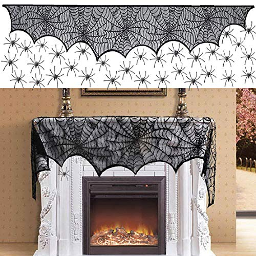 Ginbel Direct Halloween Decorations Cobwebs Spiderweb Mantle Scarf Cover Fireplace Decor Black Lace Cloth Runner Decoration Home Décor Festive Dinner Party Supplies with 50 Halloween Spiders, 96