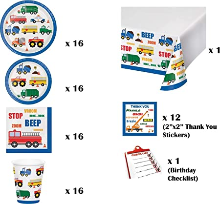 Thank You Stickers /& Checklist Dinner /& Dessert Plates Napkins Tablecover Traffic Jam Transportation Birthday Party Kit for 16 Guests 78 Pieces Cups