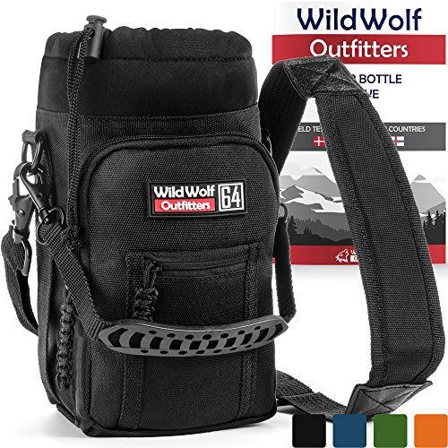 Wild Wolf Outfitters Water Bottle Holder for 64oz Bottles Black - Carry, Protect and Insulate Your Best Flask with This Military Grade Carrier w/ 2 Pockets & an Adjustable Padded Shoulder Strap ()