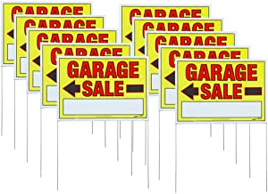 Sunburst Systems 3925 Garage Sale Sign Doubled-Sided w/Wire U-Stakes (Assembled), 32 H x 22 W, 10-Pack, inch inch, Yellow, Red, Black