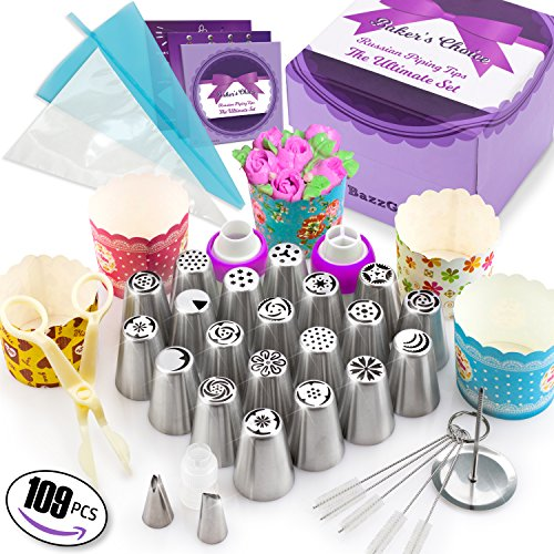 109 Pcs Russian Piping Tips Set - Cake Decorating supplies Gift Box With 109 Baking Supplies Set +22 Icing Nozzles+25 Cupcake Cups +50 Frosting Pastry Bags +5 Brushes+3 Couplers +User Guide & Rose Kit by Bazz Goods