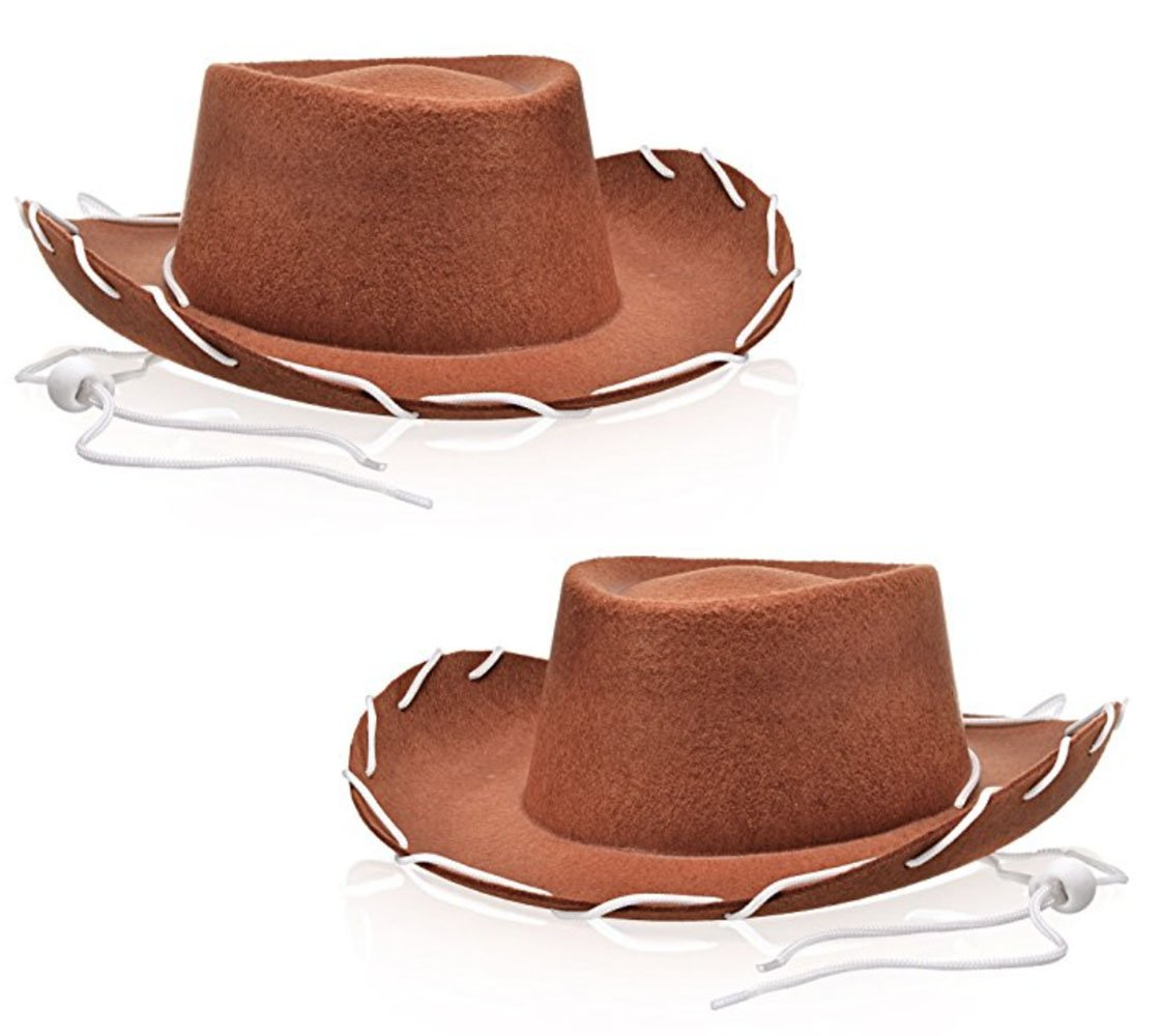 Bottles N Bags 2 Pack Children's Brown Felt Western Cowboy Hats for Costume Parties, Dress up and More by