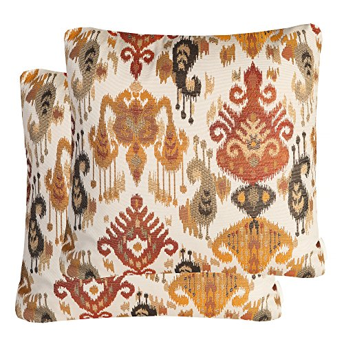Mika Home Pack of 2 Jacquard Damask Accent Throw Pillow Cases Cushion Covers for 20X20 Inserts Cream Gold Rust
