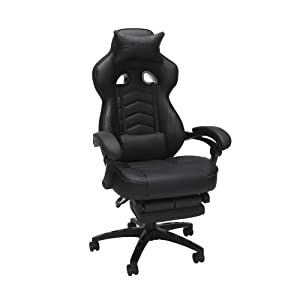 RESPAWN 110 Racing Style Gaming Chair, Reclining Ergonomic Leather Chair with Footrest, in Black (RSP-110-BLK)