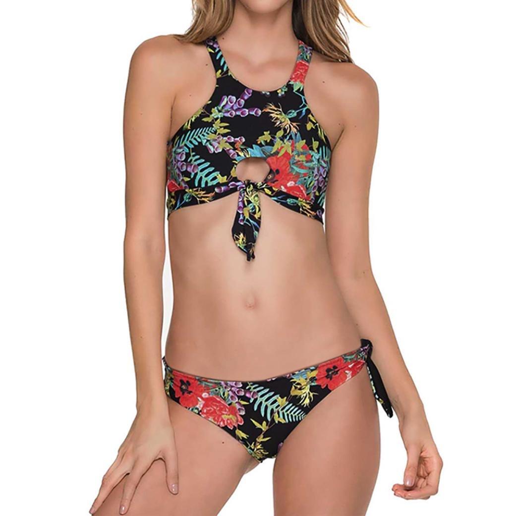 SUCES Bikini-Set gedruckt hohe Taille Badeanzug Bademode Beachwear Badeanzug Damen Bikini Set Zweiteilige Strandkleidung Bandeau Strandmode Blumen Druck Bikinihose