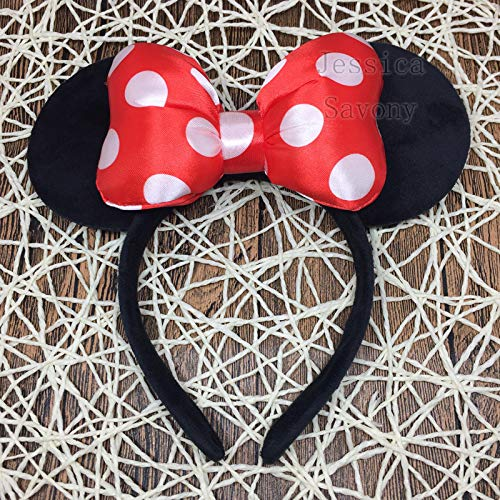 Buildent - Big Minnie Headband Cute Ear Hairband Minnie Mouse Kids Halloween Christmas Party Headwear Travel Hair Accessories [Red]