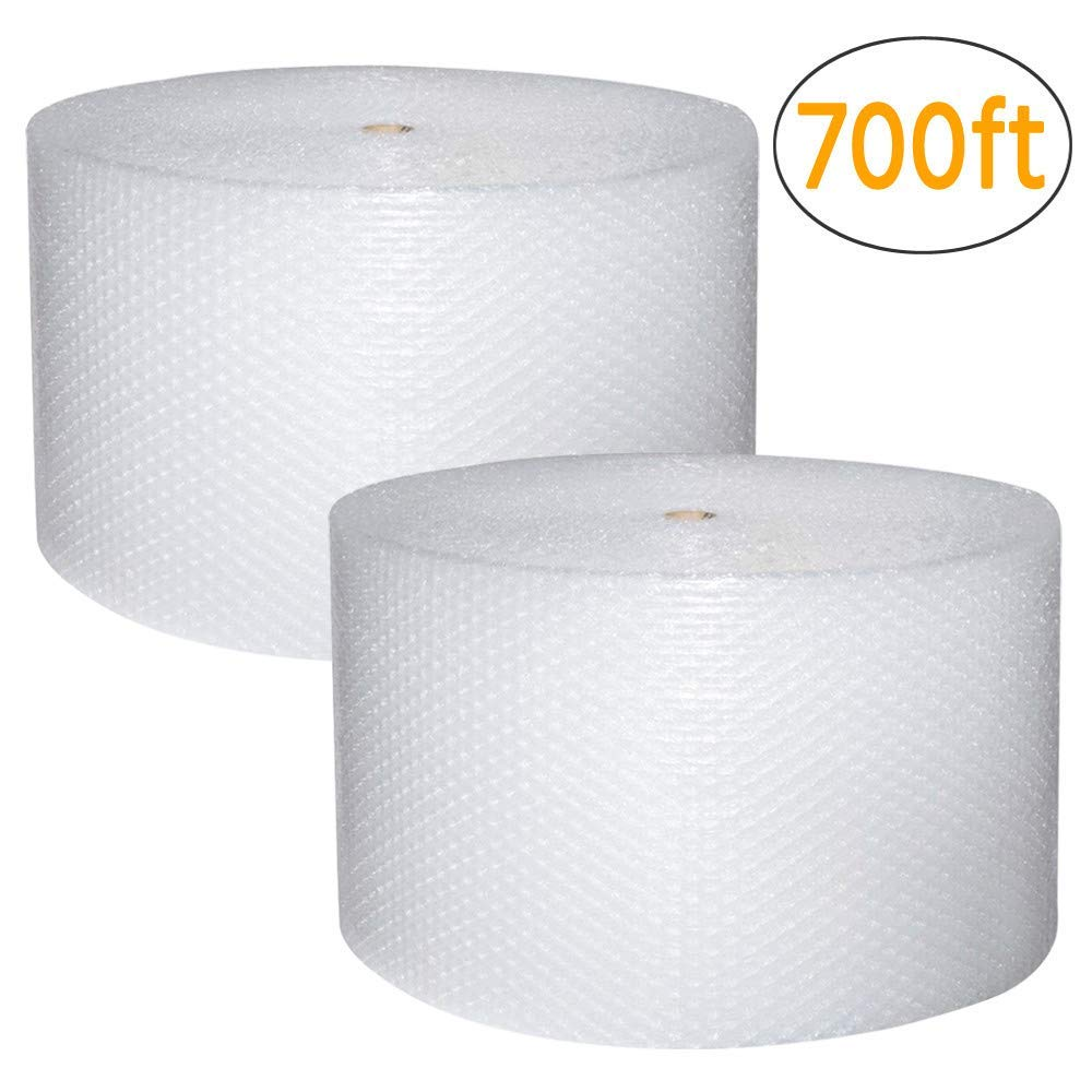 Yaheetech 3/16'' Bubble Cushioning Wrap Roll 12'' x 700 (2 Pack, 350 Feet Per Pack), Perforated Every 12'' for Packaging, Shipping, Mailing