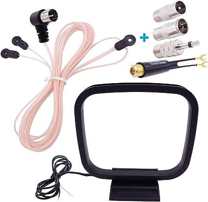 Fancasee Am FM Antena dipolo 75 Ohm F Macho Plug FM Antena con Adaptador PAL Jack y 2 Pin Bare Cable Conector Am Loop Antena para el hogar estéreo ...