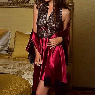 New Nightdress Set Women s Sexy Satin Lace Sleepwear Babydoll Lingerie  Pajamas Nightwear Dress Ladies Cute Hot Tops Red L at Amazon Women s  Clothing store  e770ec430