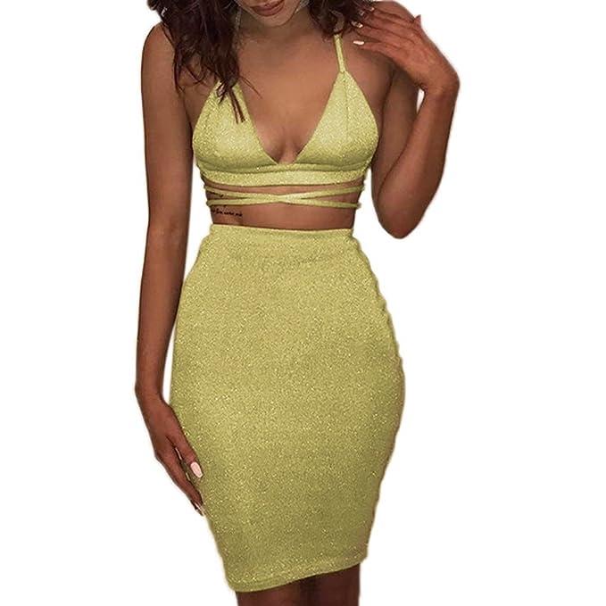 la mejor actitud 41022 ddd8e Falda para Mujer, ❤️ Cuello en V Party Club Bodycon Conjunto de Dos Piezas  Faldas Cortas Absolute