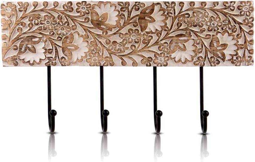 Percha decorativa de madera y hierro fundido, estilo rústico vintage, para colgar en la pared, chaqueta, bata, toalla, perchero para puerta, pasillo, sala de estar, entrada, baño, dormitorio