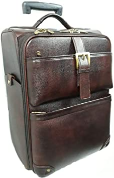 Real Leather Cabin Trolley Bag (BROWN): Amazon.co.uk: Luggage