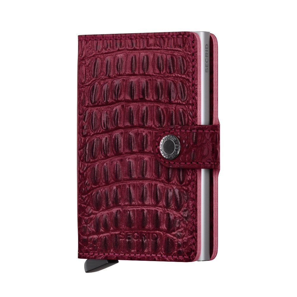 Secrid Mini Wallet, Nile Red, Genuine Leather, RFID Safe, Holds up to 12 Cards MN-Red