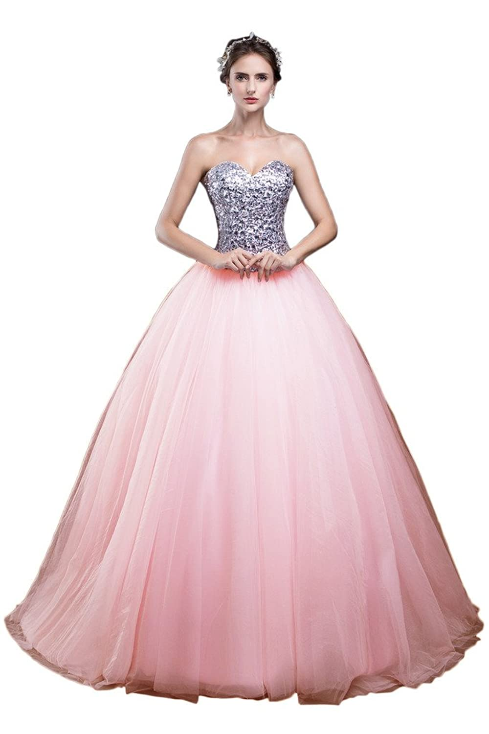 Gorgeous Bride Long Ball Gown Sweetheart Sequins Prom Quinceanera Evening Dress