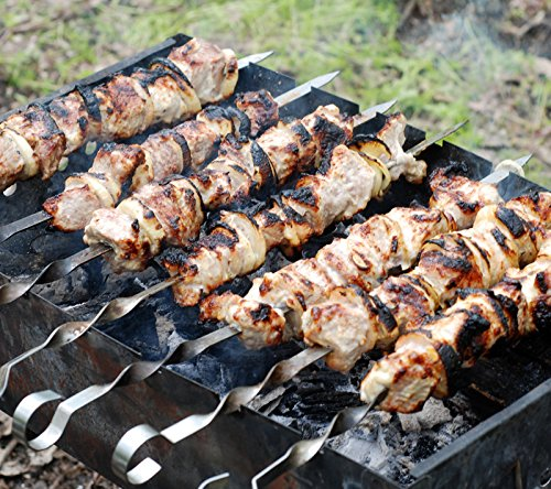 GMMH Pinchos para Parrilla de Acero Inoxidable, 10 Unidades,50 cm, Pinchos para Carne, brochetas, Kebab, Barbacoa, Grill, para Utensilios de Barbacoa ...
