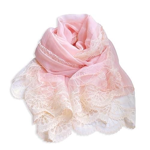 Mujer Color Sólido Encaje Chiffon Fiesta Estolas Chales Bufanda Wrap(Rosa Claro)