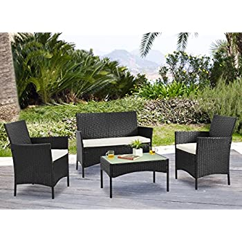 Palm Springs Deluxe 4 Piece Rattan Sofa Set w/Chairs, Tables & Cushions - Black